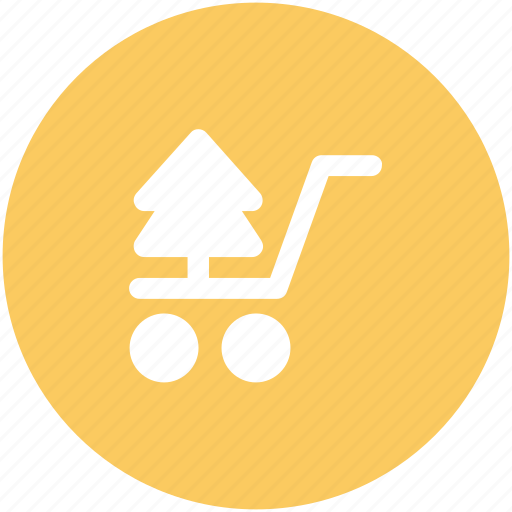 christmas shopping, christmas tree, shopping cart, tree, tree in cart, tree shopping icon