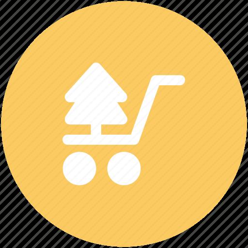 christmas shopping, christmas tree, shopping cart, tree, tree in cart, tree shopping icon