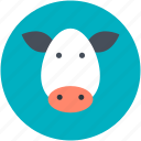 animal head, buffalo, cow, cow head, mammal icon