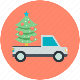 christmas shopping, christmas tree, tree, tree shopping, truck icon