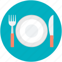 dining, fork, knife, plate, restaurant