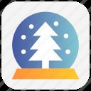 christmas, magic ball, snowflakes, tree