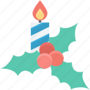 candle, christmas, christmas ornaments, mistletoe, xmas decorations icon
