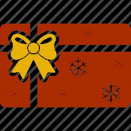 bow, card, christmas, gift, gift card, shopping, snowflake icon