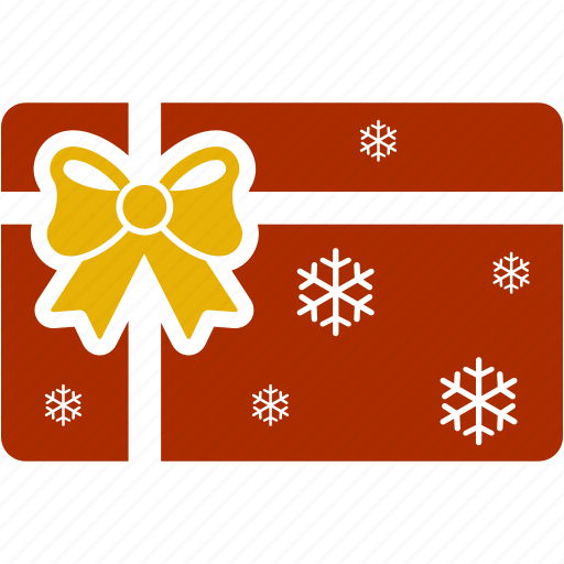 bow, card, christmas, gift, gift card, shopping, snowflake icon