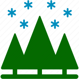 christmas, cold, pines, plants, snow, snowflake, winter icon