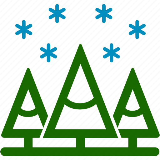 christmas, cold, pines, snow, snowflake, winter icon