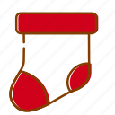 christmas, gift, holidays, red, sock, winter, xmas icon