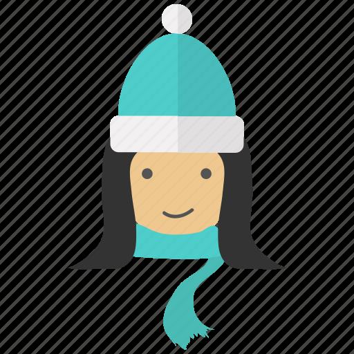 christmas, girl, snow, snowman, winter, xmas icon