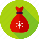 bag, christmas, merry christmas, new year, present, santa, santa's bag icon