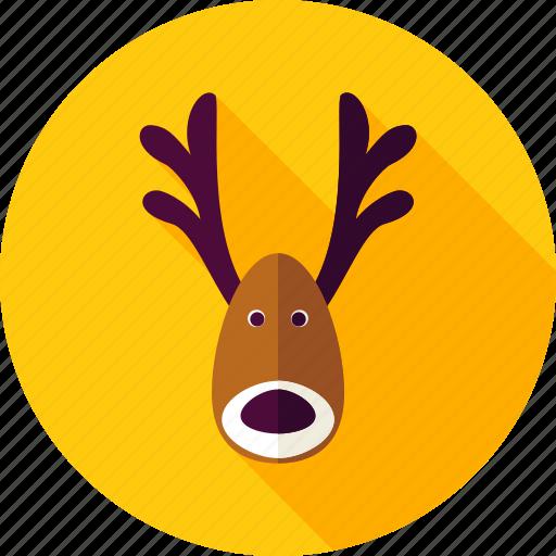 animal, christmas, deer, horn, new year, reindeer, xmas icon