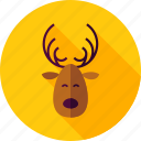 animal, antlers, christmas, deer, horn, reindeer, wild icon