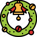 bell, christmas, ornaments, ribbon, wreath icon