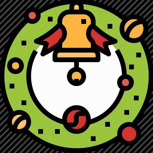 bell, christmas, ornaments, ribbon, wreath icon