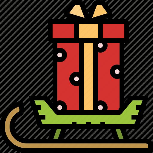 box, christmas, gift, sledge, snow, transport icon