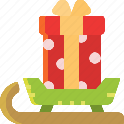 box, christmas, gift, sledge, snow, transport icon