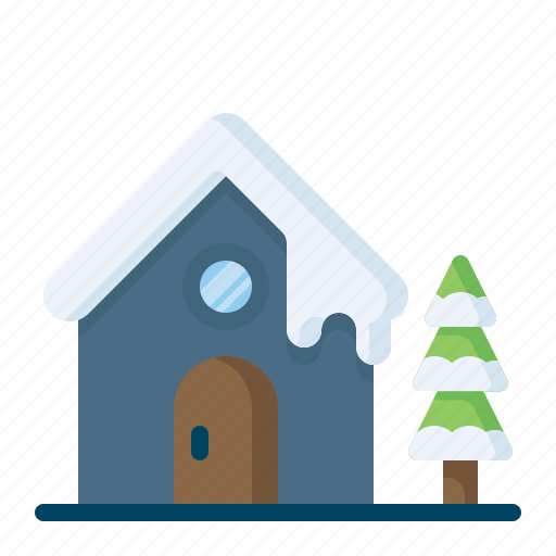 christmas, snow, snowfall, snowhouse, tree, winter, xmas icon