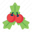 cherry, christmas, decoration, holly, leaf, mistletoe, xmas icon