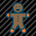 bake, christmas, cookie, gingerbread, man, pastry, xmas