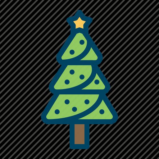christmas, decoration, holiday, pinetree, star, tree, xmas icon