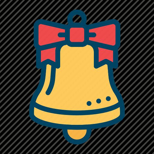 bell, christmas, decoration, jingle, ribbon, ring, xmas icon
