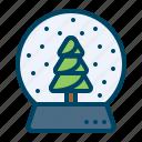 christmas, crystalball, decor, gift, showpiece, snowfall, tree