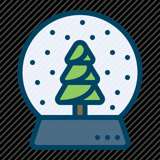 christmas, crystalball, decor, gift, showpiece, snowfall, tree icon