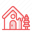 christmas, snow, snowfall, snowhouse, tree, winter, xmas icon