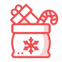 bag, box, candy, christmas, gift, present, santabag icon