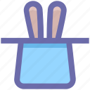 hat, magic, magic hat, magician hat, magician wand, rabbit, wizard icon