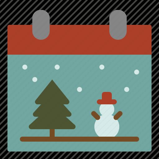 calendar, christmas, day, snowman icon