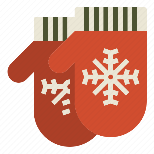 christmas, mittens, snowflake, warm icon
