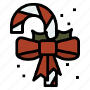 candy, cane, christmas, ribbon icon