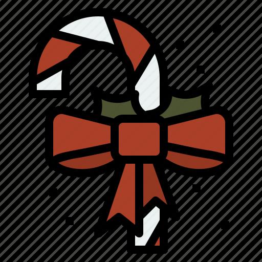 candy, cane, christmas, ribbon icon