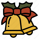 bell, celebrations, christmas, ribbon icon