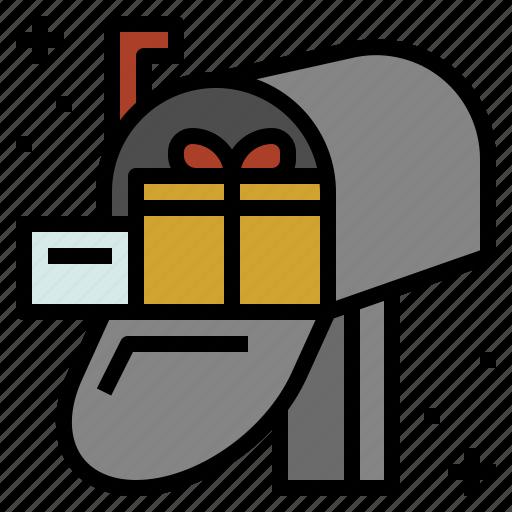 christmas, gift, mailbox, post icon