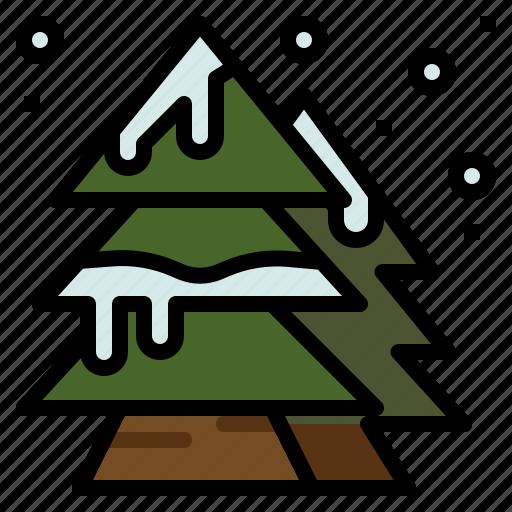christmas, pine, snow, tree icon