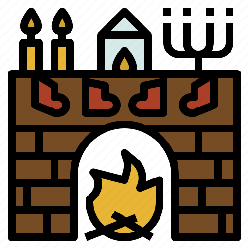 candlestick, christmas, fireplace, stocking icon