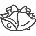 bell, christmas, holidays, line, outline, ribbon, xmas icon