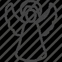 angel, christmas, holidays, line, outline, xmas icon