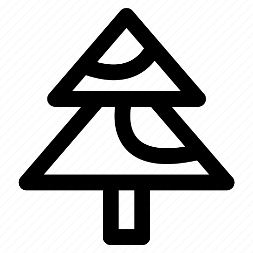 christmas, decoration, outline, tree, xmas icon