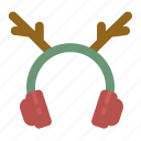 christmas, cold, deer, earmuffs, winter icon