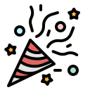 birthday, celebration, confetti, fun, party icon