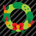 christmas, ribbon, wreath, xmas icon