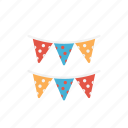 buntings, celebration, christmas, decoration, party icon