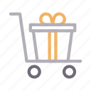 christmas, gift, party, present, trolley icon