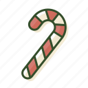 candy, candy cane, cane, christmas, sweets icon