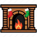 chimney, christmas, fireplace, furniture, living, warm, winter