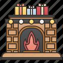 fireplace, mantelpiece, presents, warm, winter