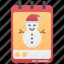 calendar, christmas, month, snowman, winter